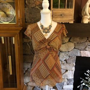 Dress Barn Gold and Brown Top